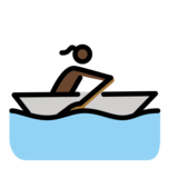 Woman Rowing Boat: Dark Skin Tone on OpenMoji 12.2