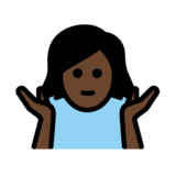 Woman Shrugging: Dark Skin Tone on OpenMoji 12.2