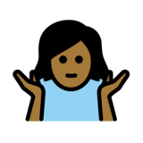 Woman Shrugging: Medium-Dark Skin Tone on OpenMoji 12.2