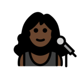 Woman Singer: Dark Skin Tone on OpenMoji 12.2
