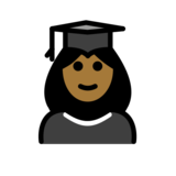 Woman Student: Medium-Dark Skin Tone on OpenMoji 12.2