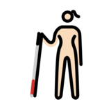 Woman with White Cane: Light Skin Tone on OpenMoji 12.2