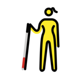 Woman with White Cane on OpenMoji 12.2
