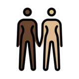 Women Holding Hands: Dark Skin Tone, Medium-Light Skin Tone on OpenMoji 12.2