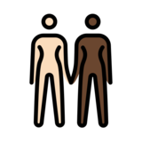 Women Holding Hands: Light Skin Tone, Dark Skin Tone on OpenMoji 12.2