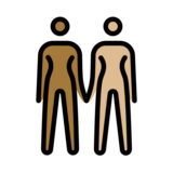Women Holding Hands: Medium-Dark Skin Tone, Medium-Light Skin Tone on OpenMoji 12.2