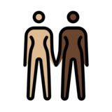 Women Holding Hands: Medium-Light Skin Tone, Dark Skin Tone on OpenMoji 12.2