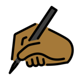 Writing Hand: Medium-Dark Skin Tone on OpenMoji 12.2