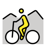 Person Mountain Biking on OpenMoji 12.3