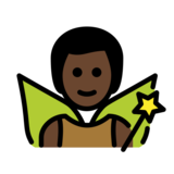 Man Fairy: Dark Skin Tone on OpenMoji 13.0