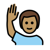 Man Raising Hand: Medium Skin Tone on OpenMoji 13.0