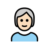 Person: Light Skin Tone, White Hair on OpenMoji 13.0