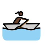 Woman Rowing Boat: Dark Skin Tone on OpenMoji 13.0