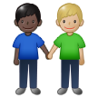 Men Holding Hands: Dark Skin Tone, Medium-Light Skin Tone on Samsung One UI 1.5