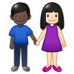 Woman and Man Holding Hands: Light Skin Tone, Dark Skin Tone on Samsung One UI 1.5
