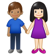 Woman and Man Holding Hands: Light Skin Tone, Medium Skin Tone on Samsung One UI 1.5