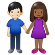 Woman and Man Holding Hands: Medium-Dark Skin Tone, Light Skin Tone on Samsung One UI 1.5