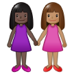 Women Holding Hands: Dark Skin Tone, Medium Skin Tone on Samsung One UI 1.5