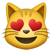 Smiling Cat with Heart-Eyes on Samsung One UI 2.0
