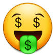 Money-Mouth Face on Samsung One UI 2.1