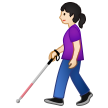 Woman with White Cane: Light Skin Tone on Samsung One UI 2.1