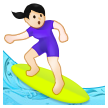 Woman Surfing: Light Skin Tone on Samsung One UI 2.5
