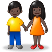 Woman and Man Holding Hands: Dark Skin Tone on Samsung Experience 8.0