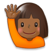 Woman Raising Hand: Medium-Dark Skin Tone on Samsung Experience 8.0