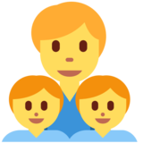 Family: Man, Boy, Boy on Twitter Twemoji 2.3