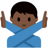 Man Gesturing No: Dark Skin Tone on Twitter Twemoji 2.3