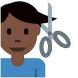 Man Getting Haircut: Dark Skin Tone on Twitter Twemoji 2.3