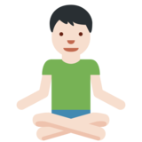 Man in Lotus Position: Light Skin Tone on Twitter Twemoji 2.3