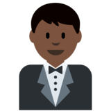 Man in Tuxedo: Dark Skin Tone on Twitter Twemoji 2.3