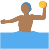 Man Playing Water Polo: Medium-Dark Skin Tone on Twitter Twemoji 2.3