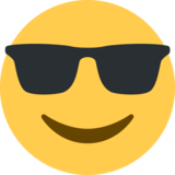 Smiling Face with Sunglasses on Twitter Twemoji 2.3
