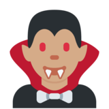 Vampire: Medium Skin Tone on Twitter Twemoji 2.3