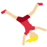 Woman Cartwheeling: Medium-Light Skin Tone on Twitter Twemoji 2.3