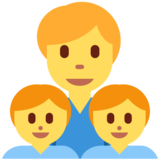 Family: Man, Boy, Boy on Twitter Twemoji 2.4