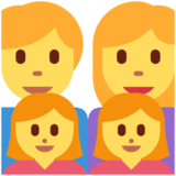 Family: Man, Woman, Girl, Girl on Twitter Twemoji 2.4