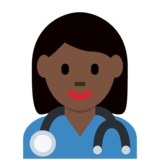 Woman Health Worker: Dark Skin Tone on Twitter Twemoji 2.4