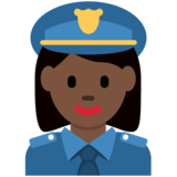 Woman Police Officer: Dark Skin Tone on Twitter Twemoji 2.4