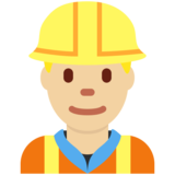 Man Construction Worker: Medium-Light Skin Tone on Twitter Twemoji 2.4