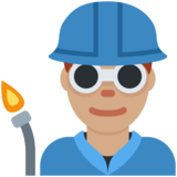 Man Factory Worker: Medium Skin Tone on Twitter Twemoji 2.4