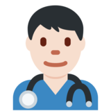 Man Health Worker: Light Skin Tone on Twitter Twemoji 2.4