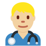 Man Health Worker: Medium-Light Skin Tone on Twitter Twemoji 2.4