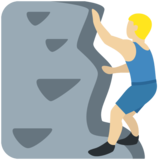 Man Climbing: Medium-Light Skin Tone on Twitter Twemoji 2.4