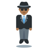 Man in Suit Levitating: Medium-Dark Skin Tone on Twitter Twemoji 2.4
