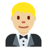 Person in Tuxedo: Medium-Light Skin Tone on Twitter Twemoji 2.4