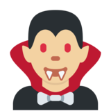 Man Vampire: Medium-Light Skin Tone on Twitter Twemoji 2.4