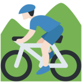 Person Mountain Biking: Light Skin Tone on Twitter Twemoji 2.4